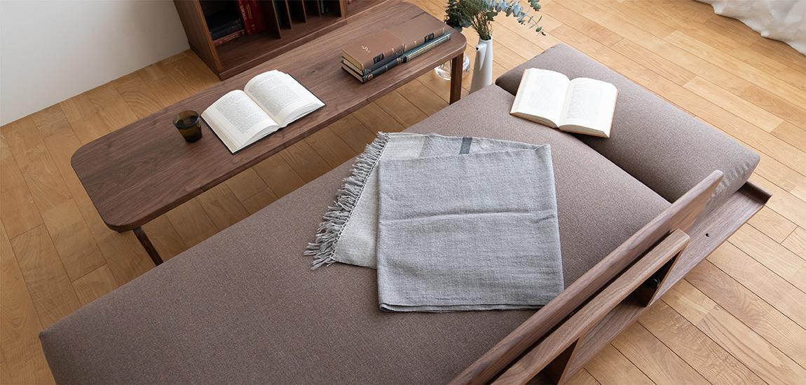 PISOLINO Sofa Bed(walnut), COCCO Coffee Table 140(walnut)